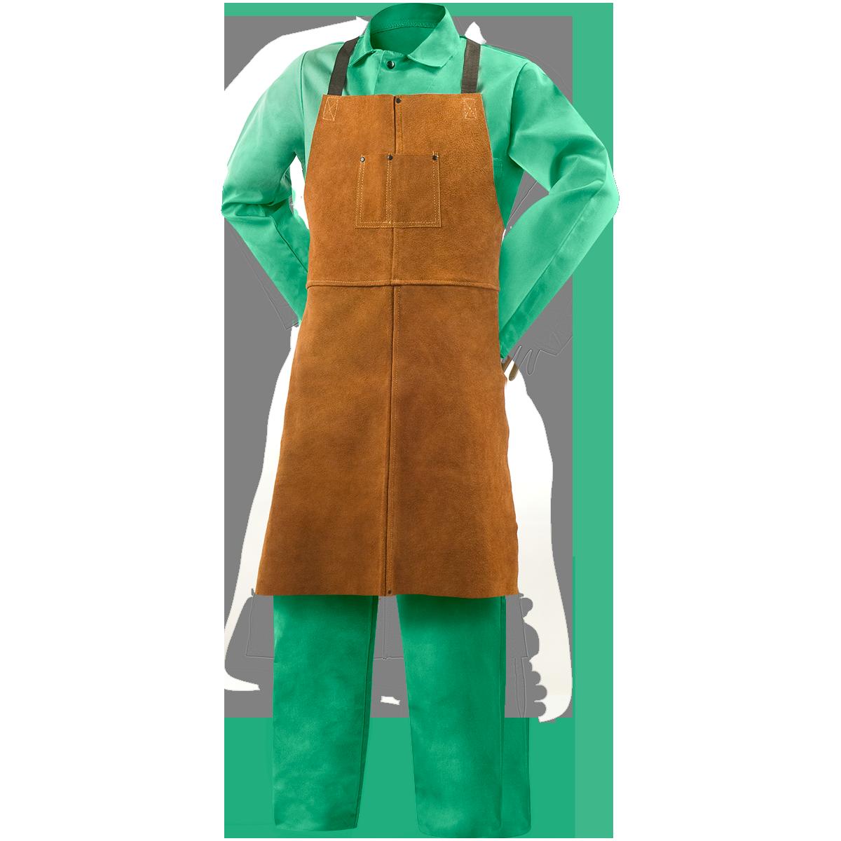 Grain cow hide leather welding apron single piece with adjustable straps
