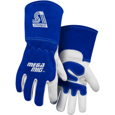 MegaMIG™ Premium Heavyweight Grain Goatskin With Split Cowhide Back MIG Welding Gloves - Cotton Lined, Long Cuff