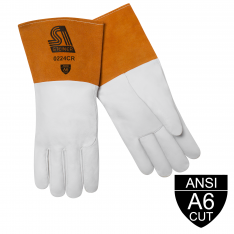 SensiTIG™ Premium Grain Goatskin TIG Welding Gloves, ANSI A6 Cut Resistant, Long Cuff