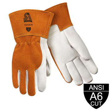 /Premium Heavyweight Grain Cowhide With Split Cowhide Back MIG Welding And Metal Fabricator Gloves - ANSI A6 Cut Resistant, Long Cuff