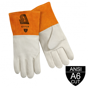 /Premium Grain Cowhide MIG Welding And Metal Fabricator Gloves - ANSI A6 Cut Resistant, Long Cuff